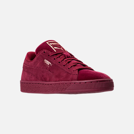 Three Quarter view of Women's Puma Suede Classic Velvet Casual Shoes in Cordovan