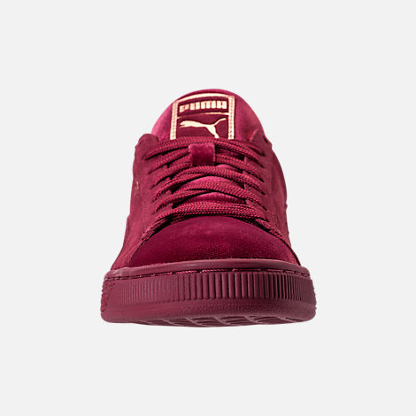 Front view of Women's Puma Suede Classic Velvet Casual Shoes in Cordovan