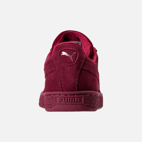 Back view of Women's Puma Suede Classic Velvet Casual Shoes in Cordovan