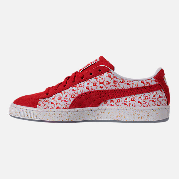 Left view of Women's Puma x HELLO KITTY Suede Classic Casual Shoes in Bright Red/Bright Red/White