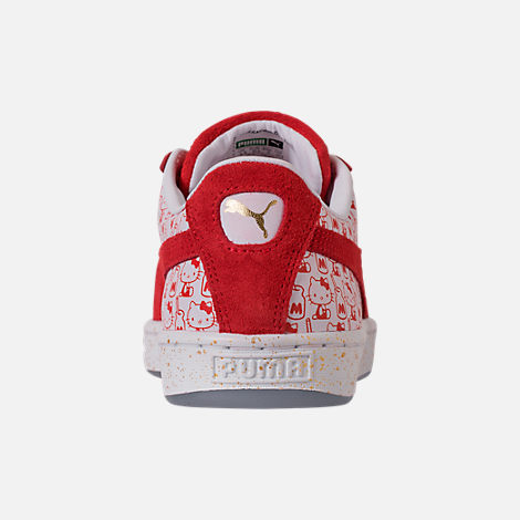 Back view of Women's Puma x HELLO KITTY Suede Classic Casual Shoes in Bright Red/Bright Red/White