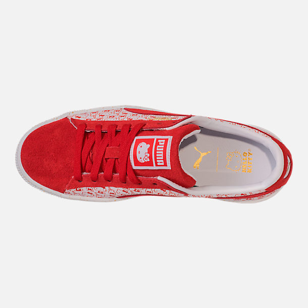 Top view of Women's Puma x HELLO KITTY Suede Classic Casual Shoes in Bright Red/Bright Red/White