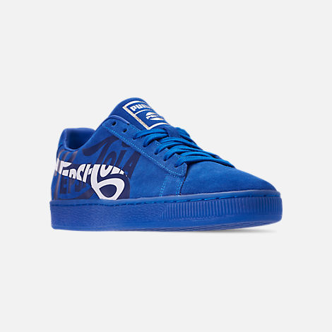 Three Quarter view of Men's Puma Suede Classic x Pepsi Casual Shoes in Clean Blue/Puma Silver