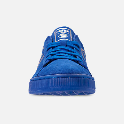 Front view of Men's Puma Suede Classic x Pepsi Casual Shoes in Clean Blue/Puma Silver