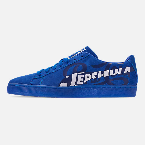 Left view of Men's Puma Suede Classic x Pepsi Casual Shoes in Clean Blue/Puma Silver