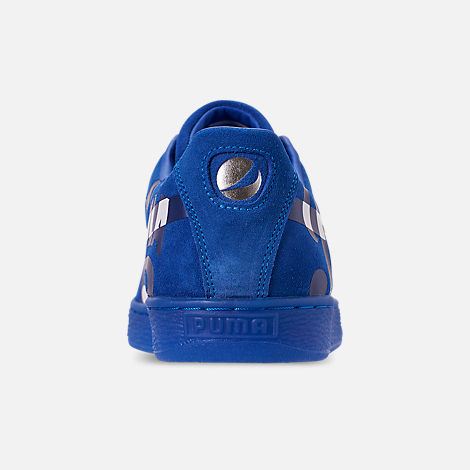 Back view of Men's Puma Suede Classic x Pepsi Casual Shoes in Clean Blue/Puma Silver