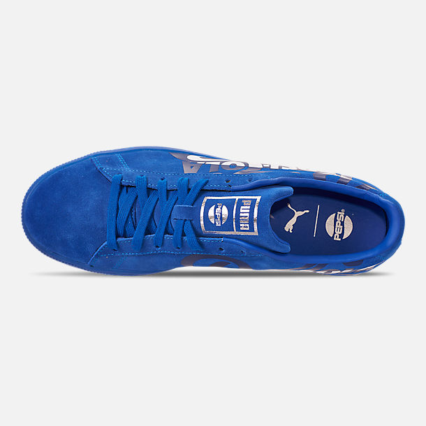 Top view of Men's Puma Suede Classic x Pepsi Casual Shoes in Clean Blue/Puma Silver