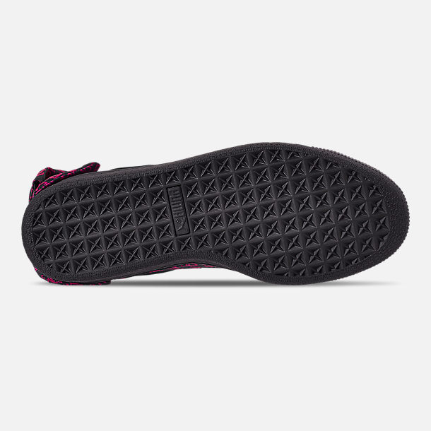 Bottom view of Women's Puma x Barbie Suede Classic Casual Shoes in Puma Black
