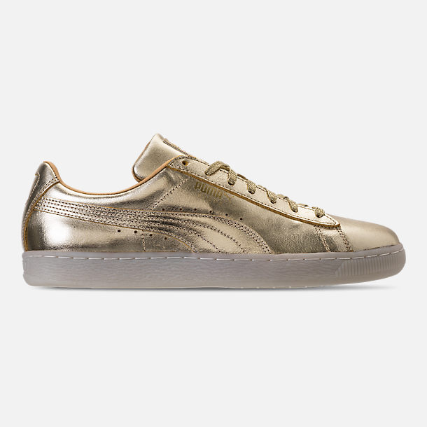 Right view of Men's Puma Suede 50th Gold Casual Shoes in Metallic Gold