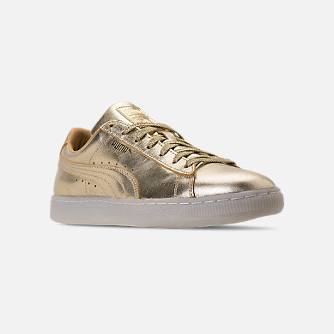 Three Quarter view of Men's Puma Suede 50th Gold Casual Shoes in Metallic Gold