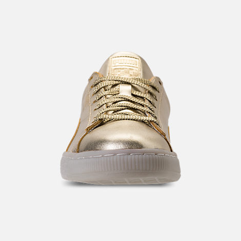 Front view of Men's Puma Suede 50th Gold Casual Shoes in Metallic Gold