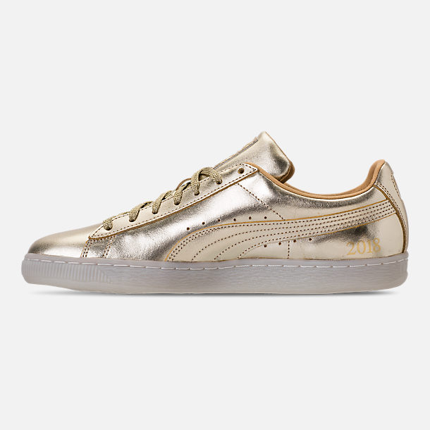 Left view of Men's Puma Suede 50th Gold Casual Shoes in Metallic Gold