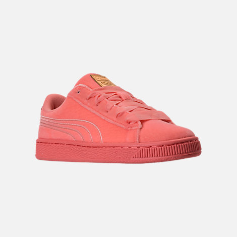 Three Quarter view of Girls' Grade School Puma Basket Classic Velour Casual Shoes in Desert Flower/Metallic Gold