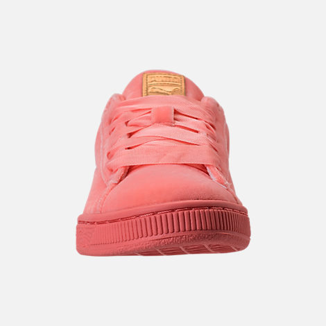 Front view of Girls' Grade School Puma Basket Classic Velour Casual Shoes in Desert Flower/Metallic Gold