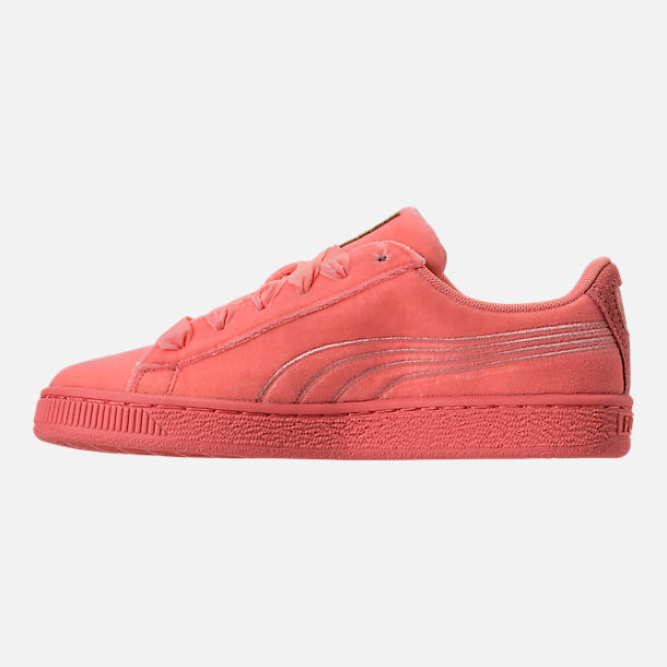 Left view of Girls' Grade School Puma Basket Classic Velour Casual Shoes in Desert Flower/Metallic Gold