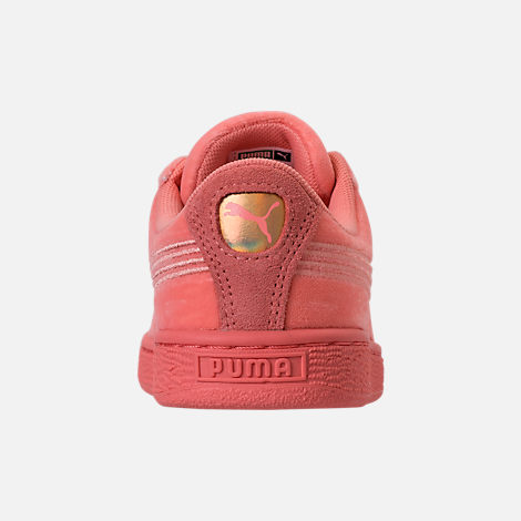 Back view of Girls' Grade School Puma Basket Classic Velour Casual Shoes in Desert Flower/Metallic Gold
