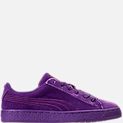 Girls' Grade School Puma Basket Classic Velour Casual Shoes