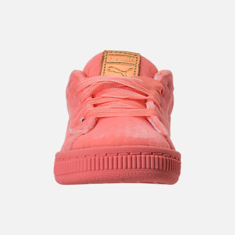 Front view of Girls' Toddler Puma Basket Classic Velour Casual Shoes in Desert Flower/Metallic Gold