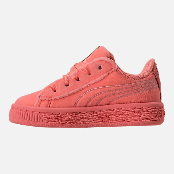 Left view of Girls' Toddler Puma Basket Classic Velour Casual Shoes in Desert Flower/Metallic Gold