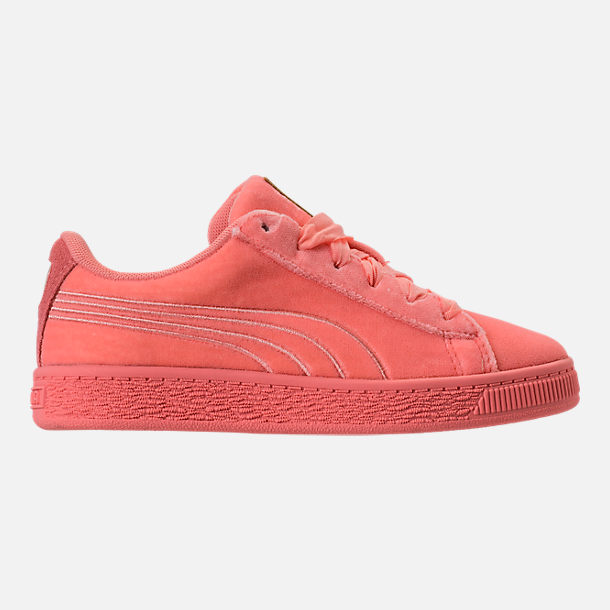 Right view of Girls' Preschool Puma Basket Classic Velour Casual Shoes in Desert Flower/Metallic Gold
