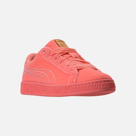 Three Quarter view of Girls' Preschool Puma Basket Classic Velour Casual Shoes in Desert Flower/Metallic Gold