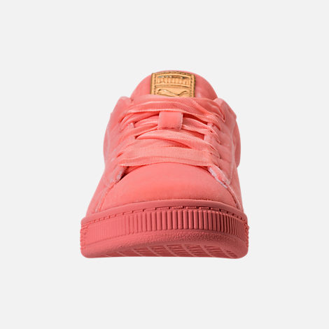 Front view of Girls' Preschool Puma Basket Classic Velour Casual Shoes in Desert Flower/Metallic Gold