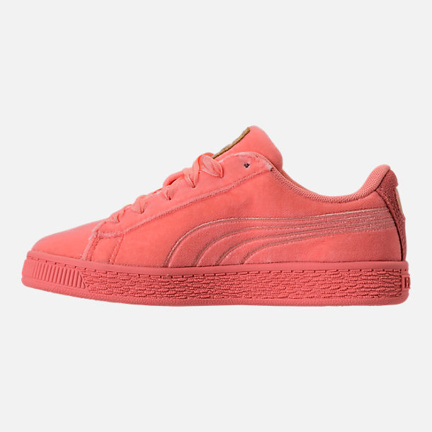 Left view of Girls' Preschool Puma Basket Classic Velour Casual Shoes in Desert Flower/Metallic Gold