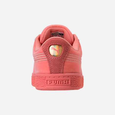 Back view of Girls' Preschool Puma Basket Classic Velour Casual Shoes in Desert Flower/Metallic Gold