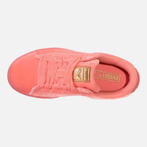Top view of Girls' Preschool Puma Basket Classic Velour Casual Shoes in Desert Flower/Metallic Gold