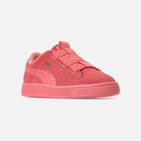 Three Quarter view of Girls' Little Kids' Puma Suede Maze Casual Shoes in Shell Pink