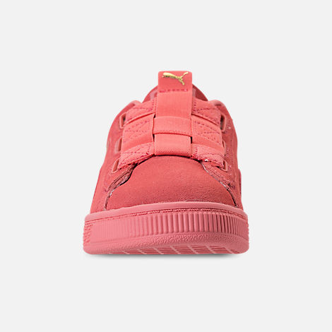 Front view of Girls' Little Kids' Puma Suede Maze Casual Shoes in Shell Pink
