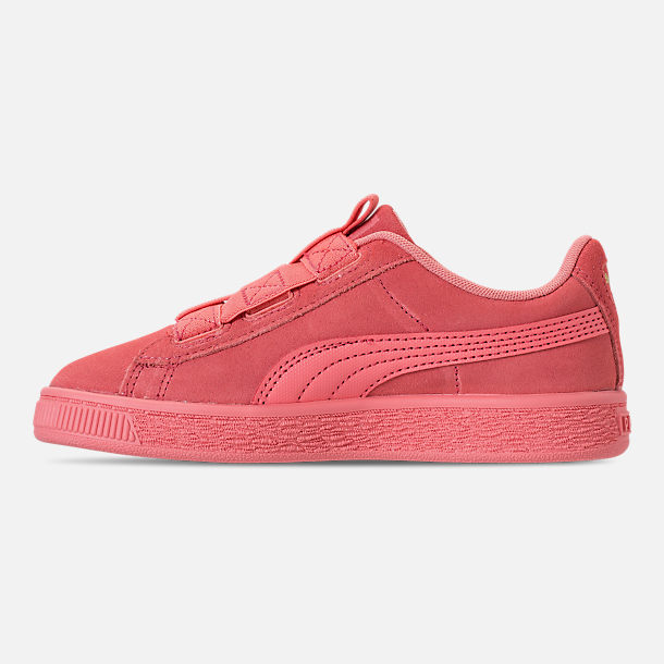 Left view of Girls' Little Kids' Puma Suede Maze Casual Shoes in Shell Pink