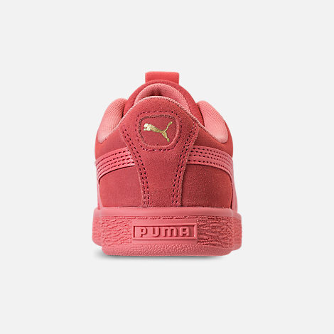 Back view of Girls' Little Kids' Puma Suede Maze Casual Shoes in Shell Pink