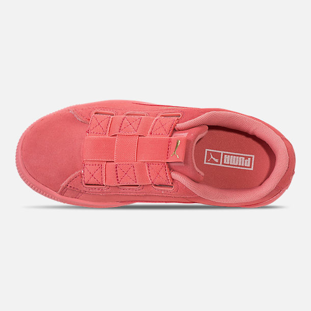 Top view of Girls' Little Kids' Puma Suede Maze Casual Shoes in Shell Pink