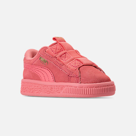 Three Quarter view of Girls' Toddler Puma Suede Maze Casual Shoes in Shell Pink