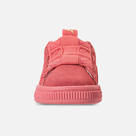 Front view of Girls' Toddler Puma Suede Maze Casual Shoes in Shell Pink