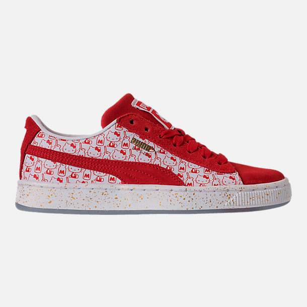 Right view of Girls' Big Kids' Puma x HELLO KITTY Suede Classic Casual Shoes in Bright Red/White