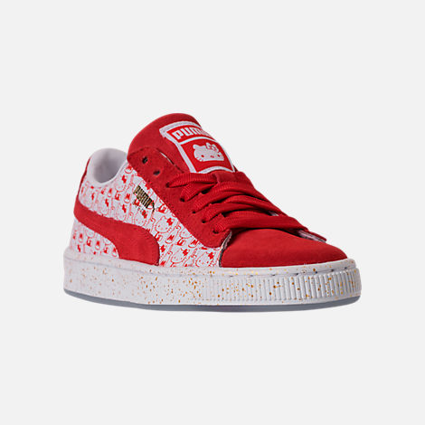 Three Quarter view of Girls' Big Kids' Puma x HELLO KITTY Suede Classic Casual Shoes in Bright Red/White