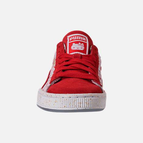 Front view of Girls' Big Kids' Puma x HELLO KITTY Suede Classic Casual Shoes in Bright Red/White