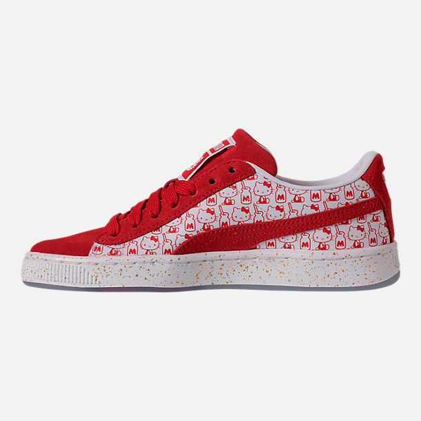 Left view of Girls' Big Kids' Puma x HELLO KITTY Suede Classic Casual Shoes in Bright Red/White