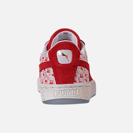 Back view of Girls' Big Kids' Puma x HELLO KITTY Suede Classic Casual Shoes in Bright Red/White