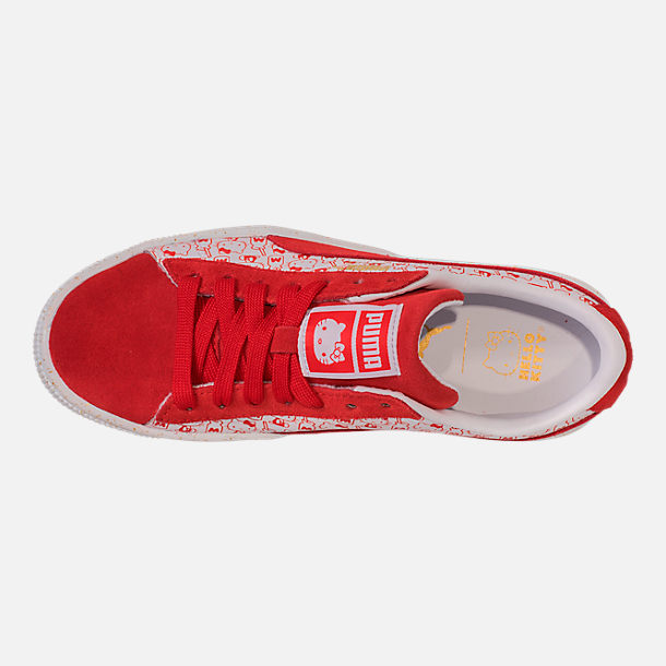 Top view of Girls' Big Kids' Puma x HELLO KITTY Suede Classic Casual Shoes in Bright Red/White