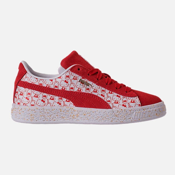 Right view of Girls' Preschool Puma x HELLO KITTY Suede Classic Casual Shoes in Bright Red/White