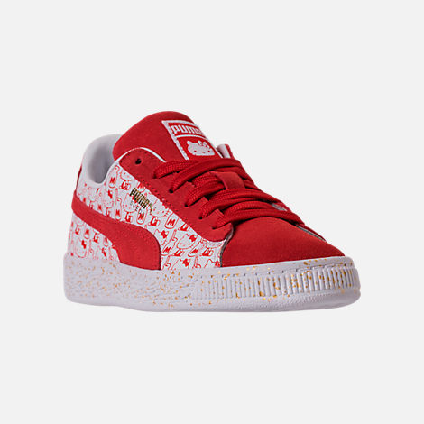 Three Quarter view of Girls' Preschool Puma x HELLO KITTY Suede Classic Casual Shoes in Bright Red/White
