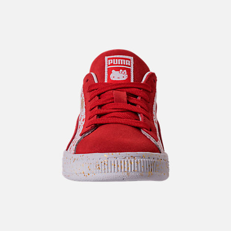 Front view of Girls' Preschool Puma x HELLO KITTY Suede Classic Casual Shoes in Bright Red/White