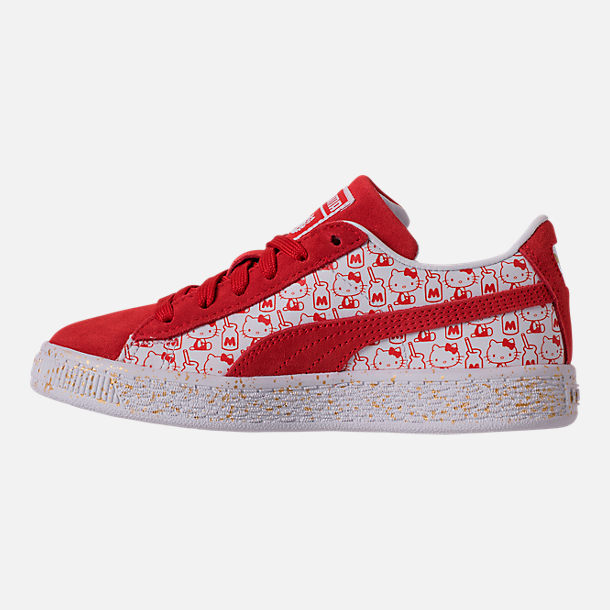 Left view of Girls' Preschool Puma x HELLO KITTY Suede Classic Casual Shoes in Bright Red/White