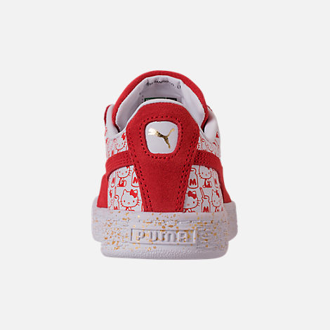 Back view of Girls' Preschool Puma x HELLO KITTY Suede Classic Casual Shoes in Bright Red/White