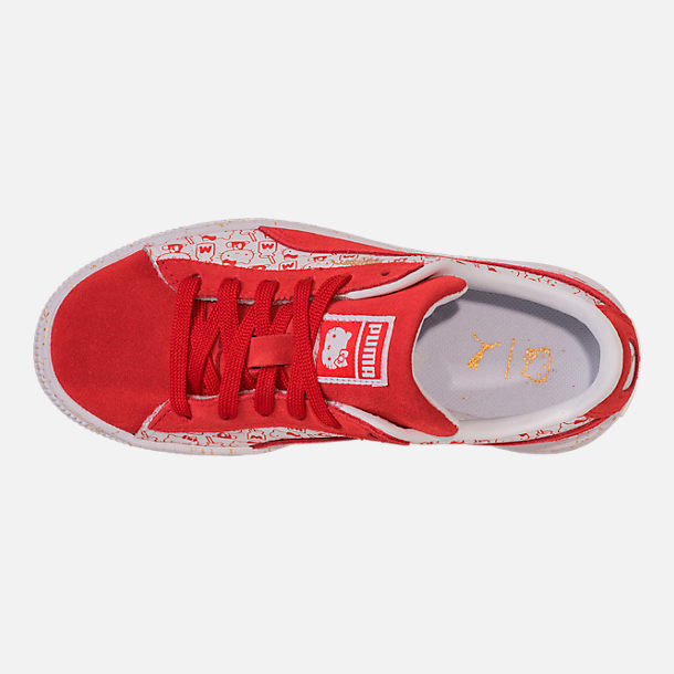 Top view of Girls' Preschool Puma x HELLO KITTY Suede Classic Casual Shoes in Bright Red/White