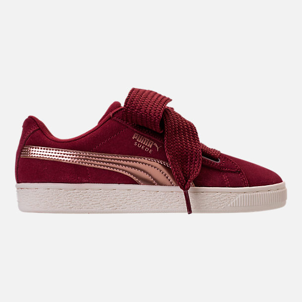 Right view of Girls' Grade School Puma Suede Heart Copper Casual Shoes in  Tibetan Red