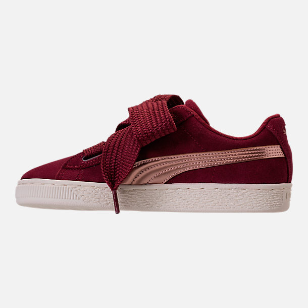 abf7350e671 Left view of Girls  Big Kids  Puma Suede Heart Copper Casual Shoes